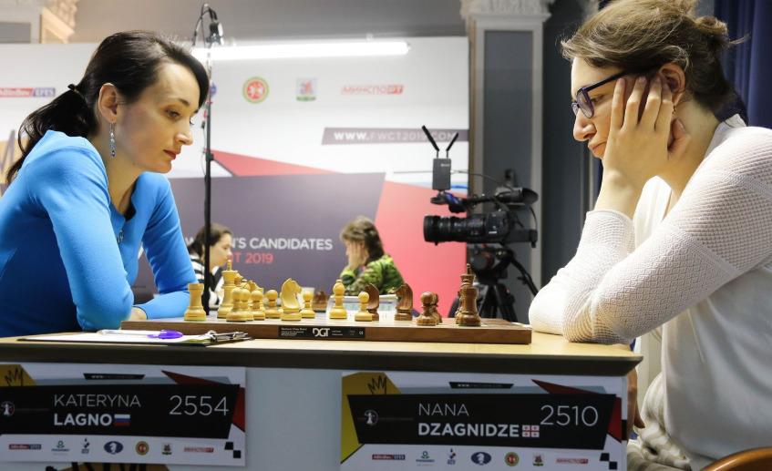 Kateryna Lagno of Russia versus Nana Dzagnidze of Georgia. Photo credit https://fwct2019.com.
