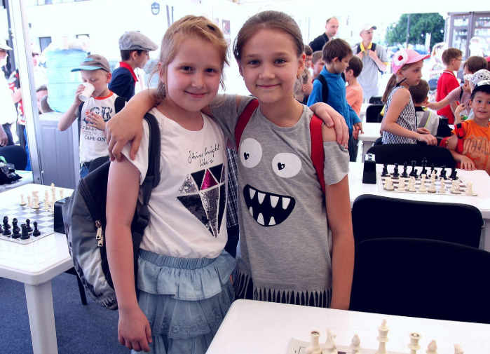 Two happy and cheerful chess players!