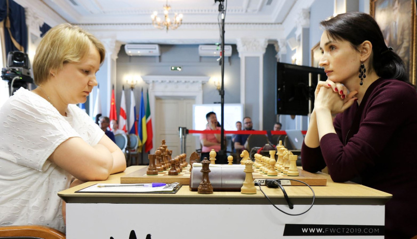 Battle of compatriots -Valentina Gunina versus Kateryna Lagno who are both from Russia. Photo credit https://fwct2019.com.
