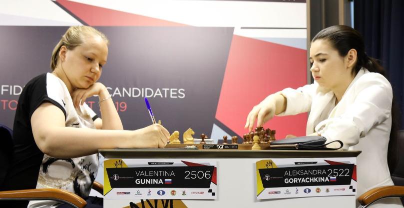 Valentina Gunina v Aleksandra Goryachkina. Photo credit Anastasiya Karlovych and Eteri Kublashvili.