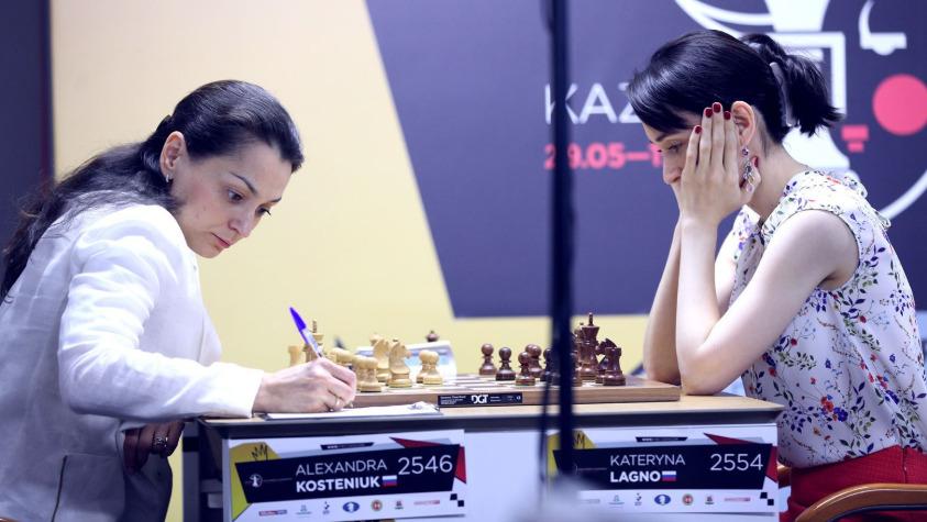 Alexandra Kosteniuk versus Kateryna Lagno. Photo credit Anastasiya Karlovych and Eteri Kublashvili.