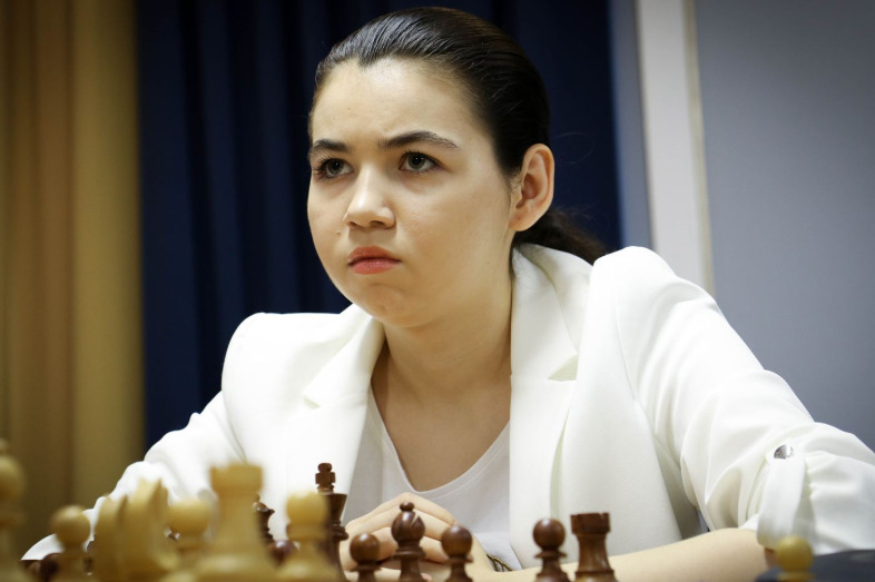 Aleksandra Goryachkina in round 9. Photo credit Anastasiya Karlovych and Eteri Kublashvili.