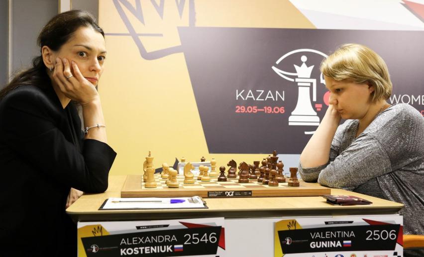Valentina Gunina versus Alexsandra Kosteniuk. Photo credit Anastasiya Karlovych and Eteri Kublashvili.