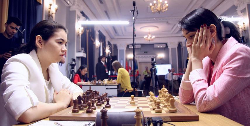 Aleksandra Goryachkina versus Kateryna Lagno. Photo credit Anastasiya Karlovych and Eteri Kublashvili.