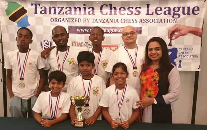 Don Bosco Rising Star Chess Club ended up in second place. Standing behind from left Khamis Ame, Kara Louis (Captain), Anacleutus Moras, Viswanshu Trivedi, & Sapna Bhattbhatt (Sponsor). Bottom from left Reyansh Varakatam, Rahul Raj & Viva Pujari.