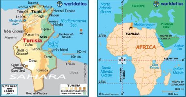 Map of Tunisia.