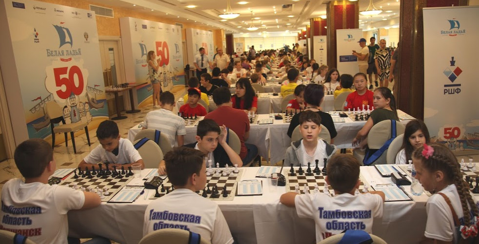 The playing hall of the 2019 Belaya Ladya Chess Tournament. Photo credit V. Barsky and www.ruchess.ru.