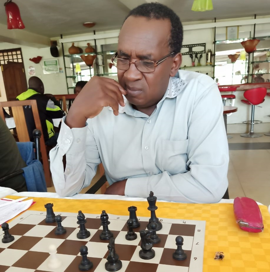 Clement Miheso who is a former Chairman of Kenya Chess Association seen in action.