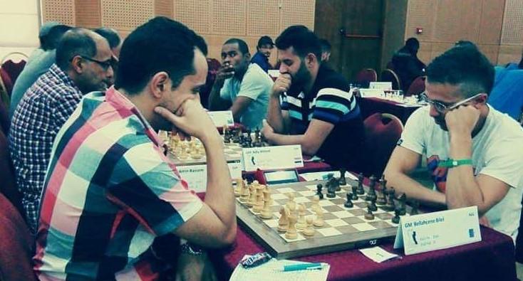 Clash of the Arab Giants - GM Amin Bassem of Egypt (left) takes on GM Bilel Belahcene of Algeria.