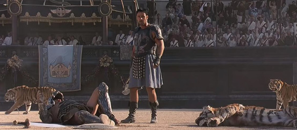 A scene from the movie 'Gladiator' starring Russel Crowe.