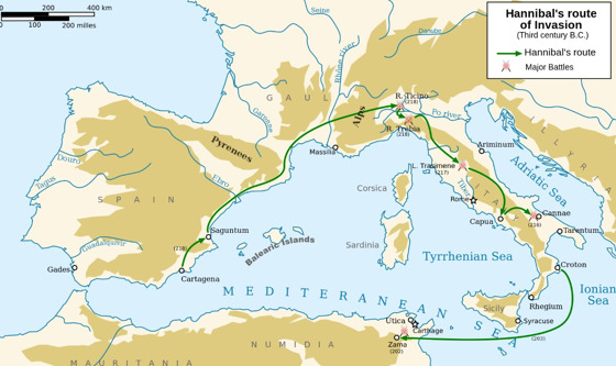 Hannibal's route across the Alps.