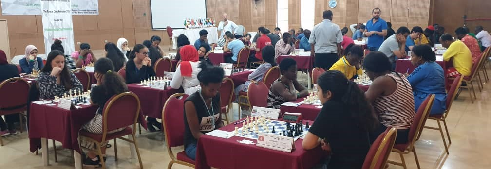 The playing hall of the 2019 African Individual Chess Championship.