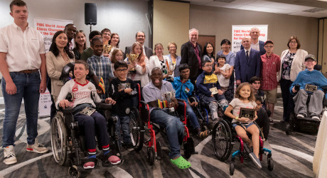 Happy winners and participants of the 2019 World Junior Chess Championship for the Disabled. Photo credit Dora Martinez.