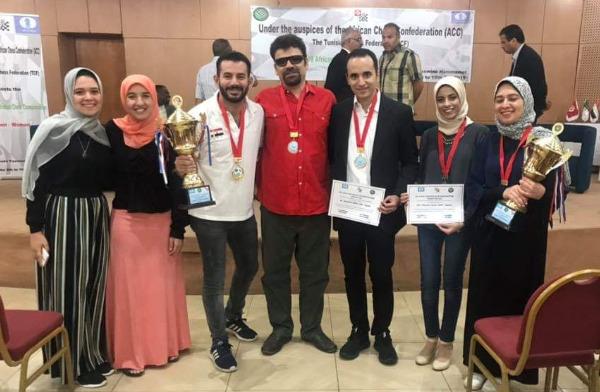 Some of the top Egyptian players in one photo.  From left WGM Wafa Shahenda,  WIM Eman Elansary, GM Adly Ahmed, GM Essam El Gindy, GM Amin Bassem,  WIM Moaataz Ayah , and WGM Wafa Shrook 2019 African Women Champion.