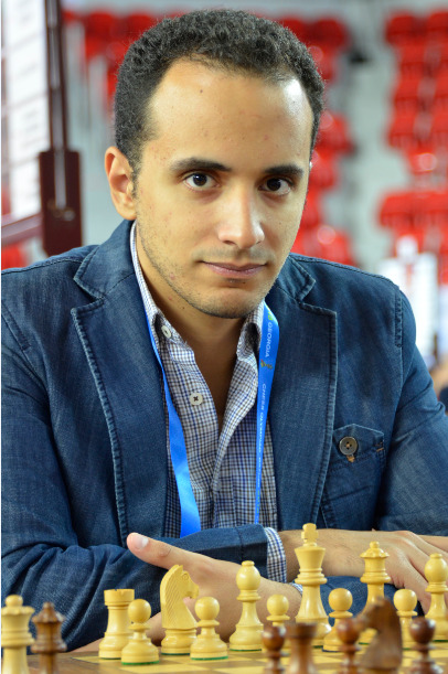 GM Amin Bassem of Egypt in action during the 2018 Batumi Olympiad.  Photo credit Kim Bhari.
