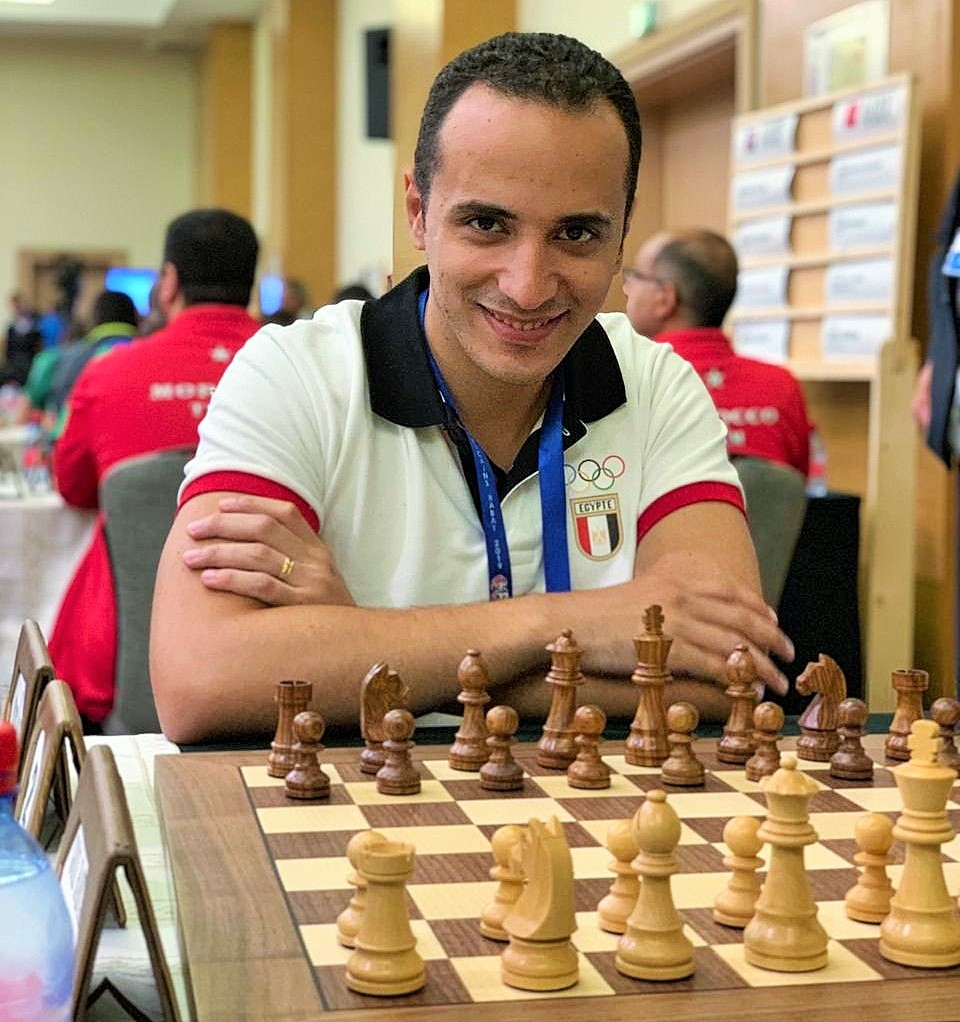 GM Amin Bassem in action and winner of the gold medal in the Blitz section. Photo credit Mohamed Bounaji .