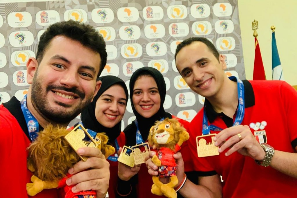 The proud Egyptian Team posing with their 5 gold medals and 3 silver medals. From left GM Adly Ahmed, WGM Wafa Shrook, WGM Shahenda Shrook, and GM Amin Bassem. Photo credit Mohamed Bounaji .