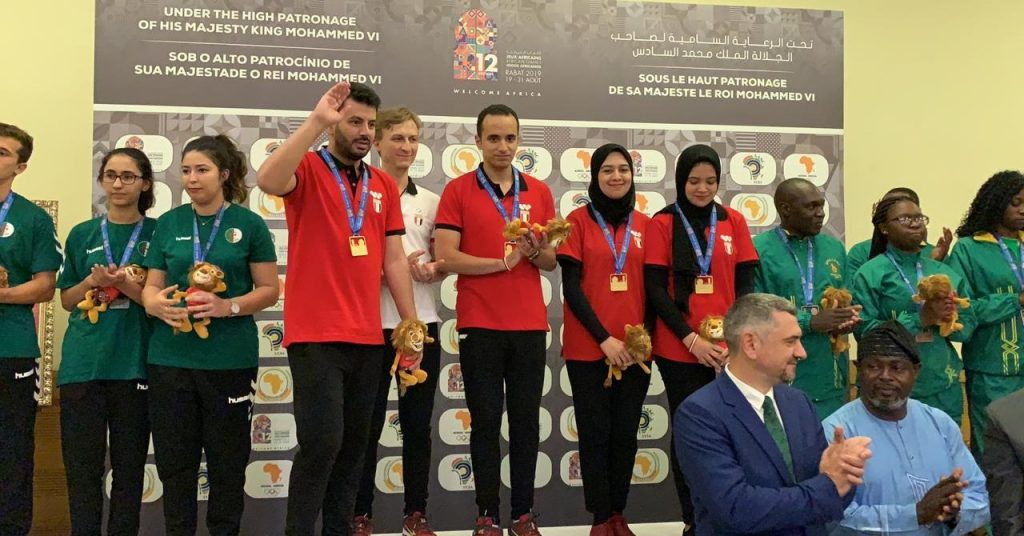 Podium photo at the Mixed Rapids. Algeria (left) with the silver medal, Egypt in the middle with the gold and Zimbabwe who won the bronze medal. Photo credit Mohamed Bounaji .