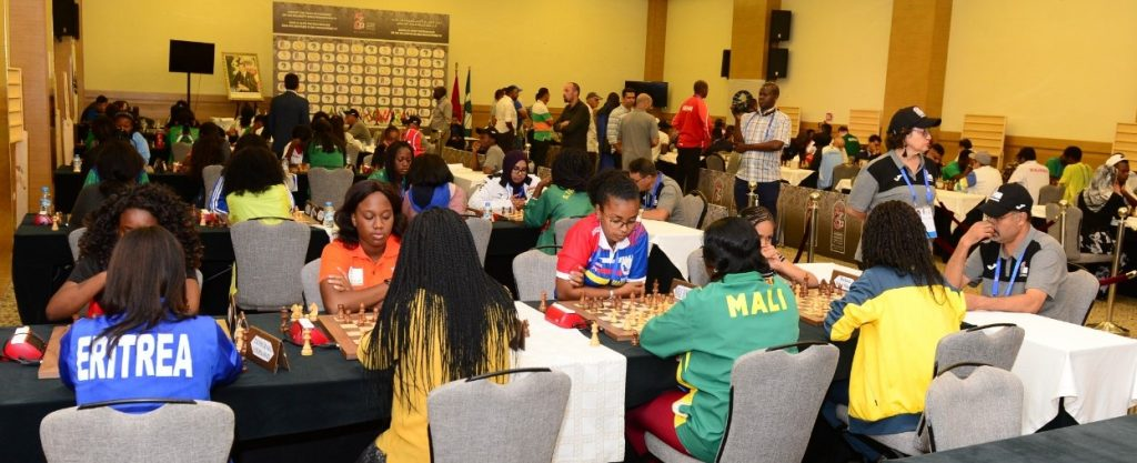 The playing hall at the 2019 African Games. Photo credit Mohamed Bounaji .