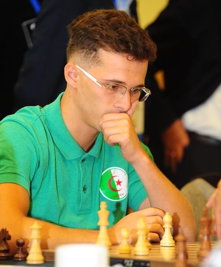 GM Bilel Bellahcene of Algeria who won the bronze medal in the Blitz section. Photo credit Mohamed Bounaji .