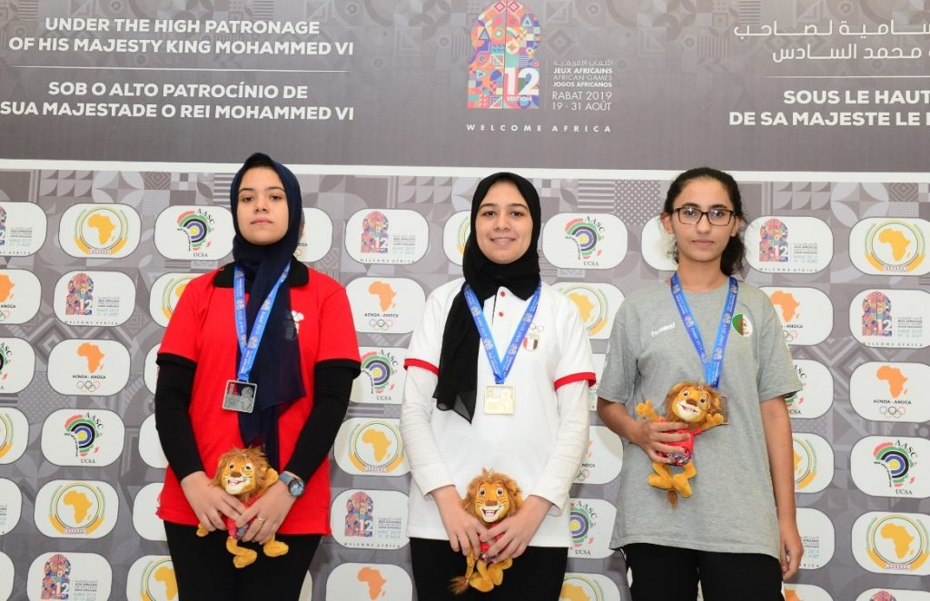 WGM Shrook Wafa (middle) winner of the Blitz event with 8 points. WGM Shahenda Wafa (left) was runners up and WIM Nassr Lina was the bronze medal winner. Photo credit Mohamed Bounaji .