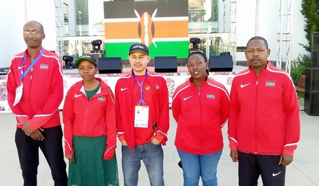 Team Kenya - from left Mathew Kanegeni (coach), Sasha Mongeli, Mehul Gohil, WCM Joyce Nyaruai and Ricky Sang.