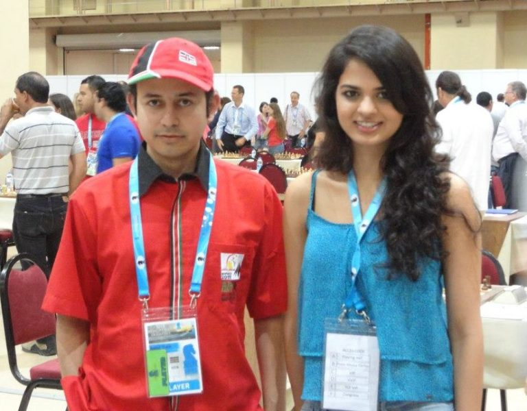 Mehul Gohil with the charming IM Tania Sachdev of India at the 2012 Chess Olympiad in Istanbul, Turkey.
