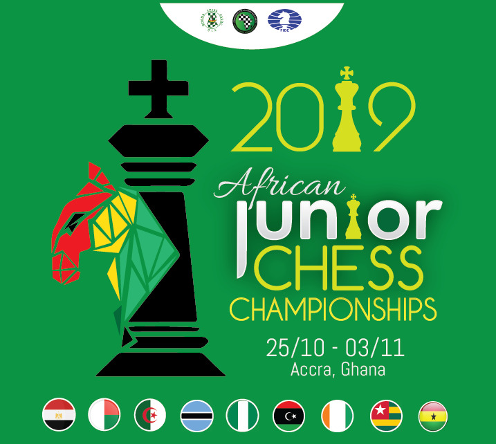 Poster for the 2019 Africa Junior Chess Championship.