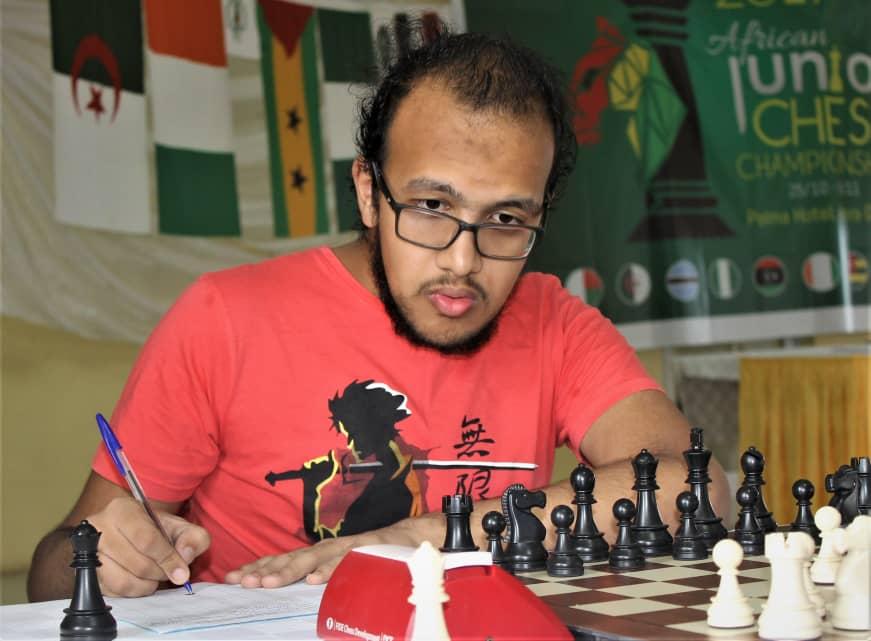 GM Fawzy Adham of Egypt who is the defending champion.  Photo Credit: Ogunsiku Babatunde.