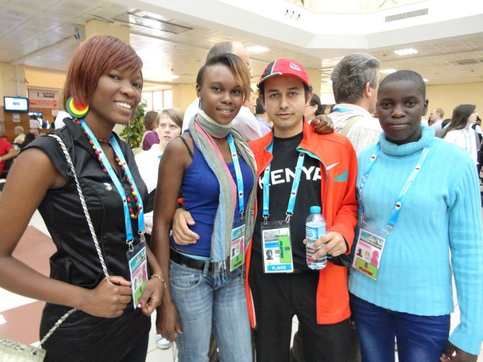 Left to right: Graciellah Kigeni Wads, Goretti Angolikin, Gorilla and Phiona during the 2012 Istanbul Olympiad.