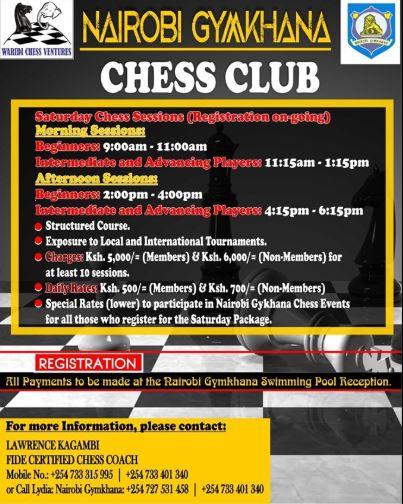 Chess classes at Nairobi Gymkhana, Forest Road, Nairobi.