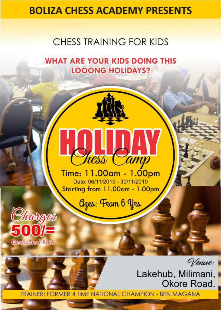 Boliza Chess Academy poster. CM Ben Magana is 3 times Kenya Champion.