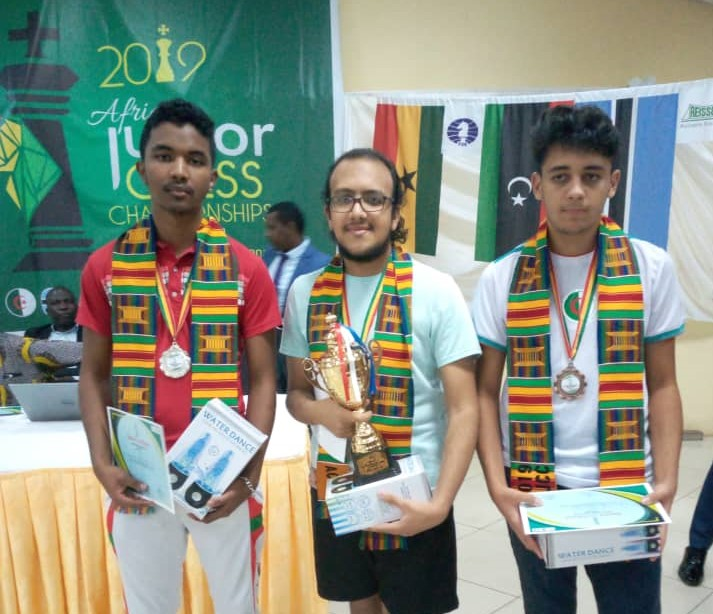 Proud winners in the Open section. IM Fy Rakotomaharo of Madagascar (left) silver medal, GM Fawzy Adham of Egypt (winner) and FM Massinas Djabri of Algeria (bronze). Photo Credit: Ogunsiku Babatunde