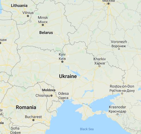 Map of Ukraine.