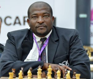 CM Charles Eichab newly elected President of the Namibian Chess Federation in action during the 2016 Baku Olympiad. Photo credit Kim Bhari.