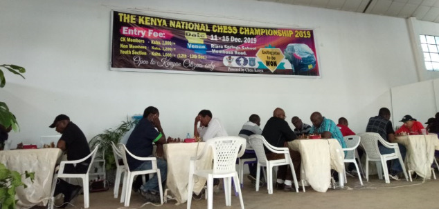The top boards in action 2019 Kenya National Chess Championship. Photo credit Kim Bhari.