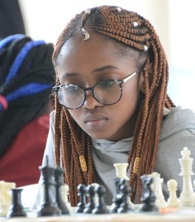 Glenda Madelta in action during the 2019 Kenya National Chess Championship.  Photo credit Kim Bhari.