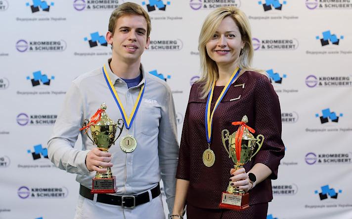 Evgeny Shtembuliak and Natalia Zhukova posing with their trophies for winning the 2019 Ukranian Championship. Photo credit Ukranian Chess Federation.