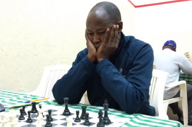 Samuel Kimani of Nairobi Gymkhana Chess Club in action during the 3rd Jamhuri Cup.