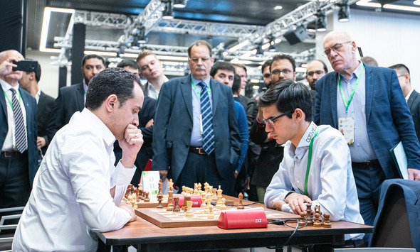 GM Amin Bassem of Egypt in action against GM Anish Giri in a game that ended in a draw.