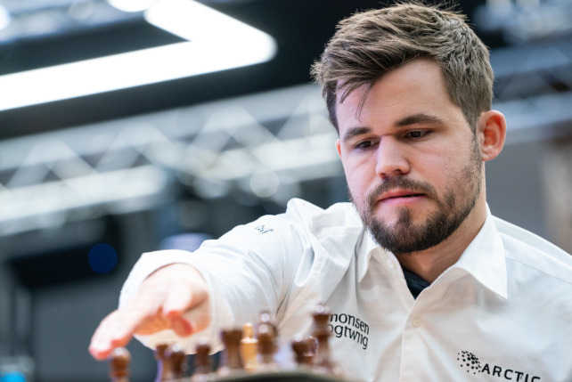 World Champion Magnus Carlsen in action.