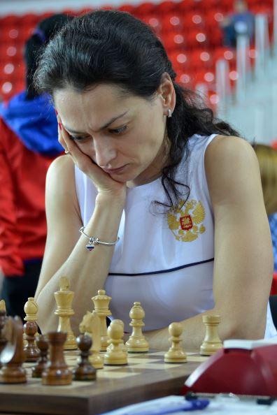 Former Women's World Champion Alexandra Kosteniuk of Russia seen here at the Batumi Olympiad. Photo credit Kim Bhari.