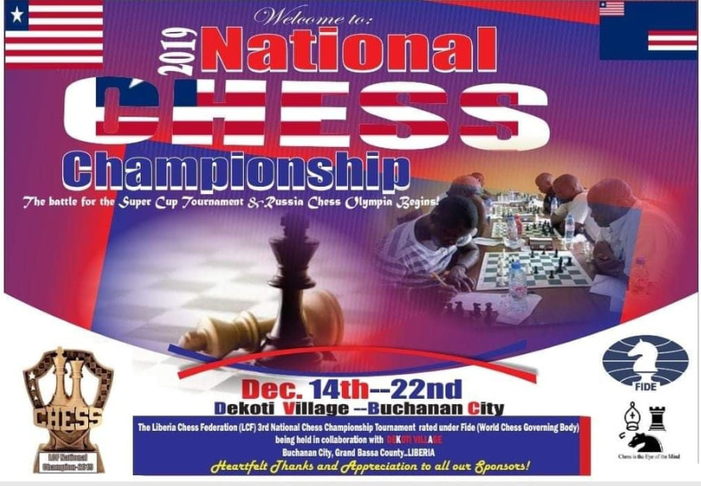 Poster for the 2019 Liberia National Chess Championship.