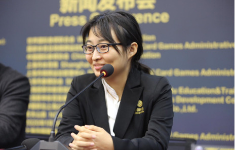 A happy Ju Wenjun at the Press Conference after her win in game 4.