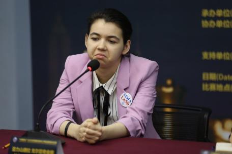 Aleksandra Goryachkina at the Press Conference.