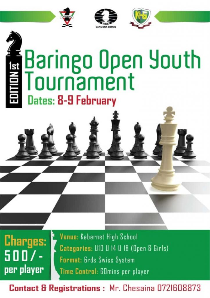 Poster for the 1st Baringo Open Youth Tournament.