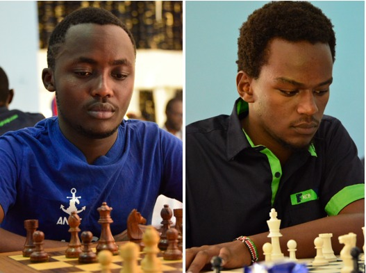 James Kabui (left) and Martin Njoroge both young and upcoming players seen here during the 2019 Kenya Open. Photo credit Kim Bhari.