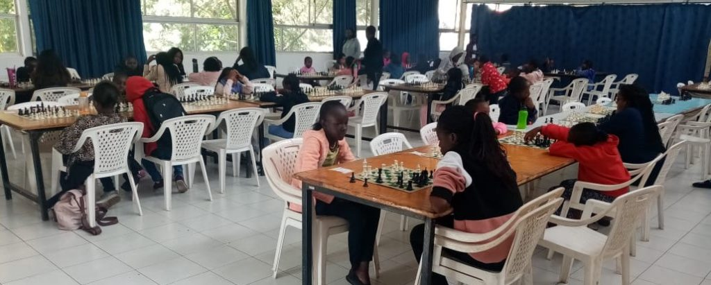 The playing hall at the Queen's Rapid Chess Tournament held at Makini School, Nairobi.