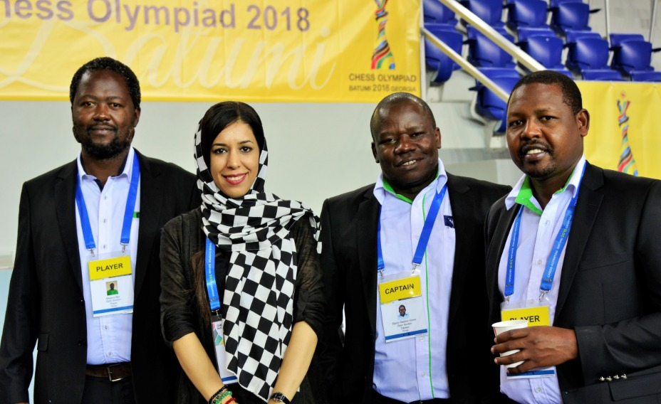 The charming Shohreh Bayat posing with members of the Kenya Team to the 2018 Chess Olympiad. Standing from left CM Ben Magana, Shohreh, FM Steve Ouma and Ricky Sang. Photo credit Kim Bhari.