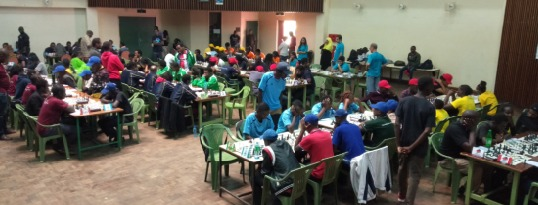 Photo of the playing hall during round 1 of the 2020 Kenya Premier Chess League at the NYS Engineering Campus. Photo credit Kim Bhari.
